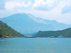 Aegean sea landscape and yachts Stock Photos