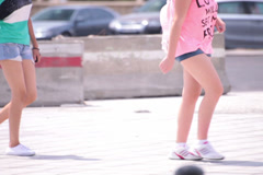 long naked legs young adult women walking - stock footage