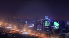 Futuristic city with holograms at buildings and spaceship Stock Footage