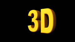 """In 3D"" motion graphic title. Stock Footage"