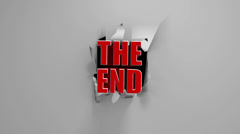 "3D motion graphic ""The End"" title on a torn screen. Stock Footage"