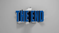 "3D ""The End"" title on a torn screen. Stock Footage"