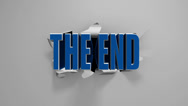 "Stock Video Footage of 3D ""The End"" title on a torn screen."