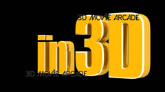 """In 3D"" motion graphic title Stock Footage"