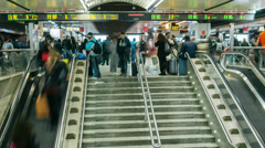 Commuters inside Roma Termini train station timelapse Stock Footage
