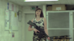 Young Girl Running Aiming G3 - Slow Motion - 001 Stock Footage