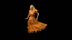 Dancer dancing merrily on dance floor.dress&gold skirt with colorful stage ligh Stock Footage