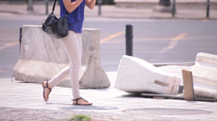white jeans long legs young adult woman walking - stock footage
