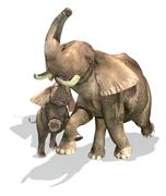 Elephants, mother and son. Stock Illustration