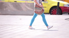 Blue leggins long legs young adult woman walking Stock Footage