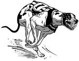 Stock Illustration of greyhound racing dog black white