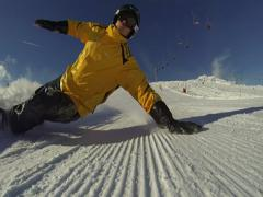 Stock Video Footage of Group man ride on snowboard. Over the camera.