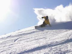Snowboard ride in sunday.  Super Slow Motion Stock Footage