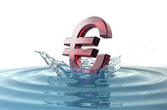 euro sign falling into water with splash - stock illustration
