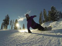 Carving snowboard. Stock Footage