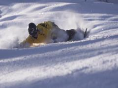Extreme ride on snowboard.   Super Slow Motion Stock Footage