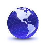 Earth globe stylized, in blue color, shiny and with white glowing grid. on wh Stock Illustration