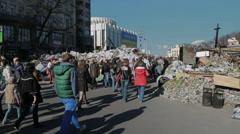 Euromaidan revolution in Kiev - People visiting Maidan Stock Footage