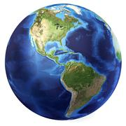 Earth globe, realistic 3 d rendering. americas view. (source maps offered by  Stock Illustration