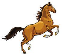 Rearing brown horse Stock Illustration