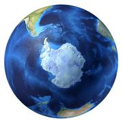 Earth globe, realistic 3 d rendering. antarctic (south pole) view. Stock Illustration