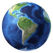 earth globe, realistic 3 d rendering. south america view. - stock illustration