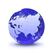 earth globe stylized, in blue color, shiny and with white glowing grid. on wh - stock illustration