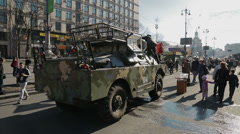 Euromaidan revolution in Kiev - Army vehicles still stands Stock Footage