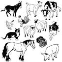 Stock Illustration of set with farm animals black white images