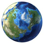 Earth globe, realistic 3 d rendering. arctic view (north pole). Piirros