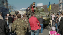 Parents with children also visited the Maidan Square Stock Footage