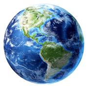 Planet earth with some clouds. americas view. Stock Illustration