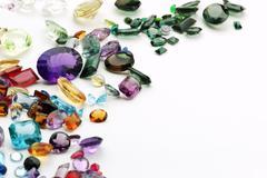 Authentic gemstones with copy space amethyst topaz quartz etc... Stock Photos