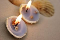 seashells with candles close up - stock photo