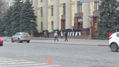Police guarding the regional administration in Kharkiv - March 2014 Stock Footage