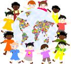 Stock Illustration of children of different around races  planet with toys