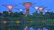 Asian Travel Architecture -  Singapore Night Lights Display at Marina Bay Stock Footage