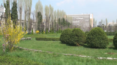 Beautiful Italian Style Park, Flowers, Spring, Color, Pan-Shot - stock footage