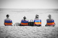 Stock Photo of colorful deckchairs