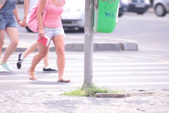 three walking bluejeans shorts long naked legs young adult women - stock footage
