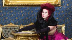 Baroness in baroque salon Stock Footage