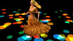 Dancer dancing merrily on dance floor.dress&gold skirt with colorful stage. Stock Footage