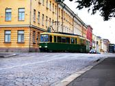 Stock Photo of Green old tram in Helsinki Finland