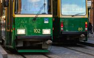 Stock Photo of Green tram in the capital of Finland, Helsinki