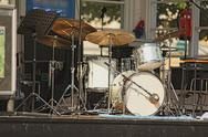 Drumset with nobody on stage, outdoors, isolated Stock Photos