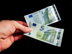 Five Euro bills Stock Photos