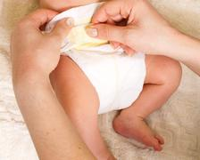 Diaper change Stock Photos