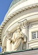 Tuomiokirkko, the Lutheran Cathedral in Helsinki Finland, closeup - stock photo