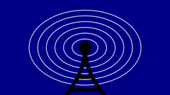 Graphical antenna and radio waves Stock Footage