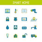 smart home automation technology icons set - stock illustration